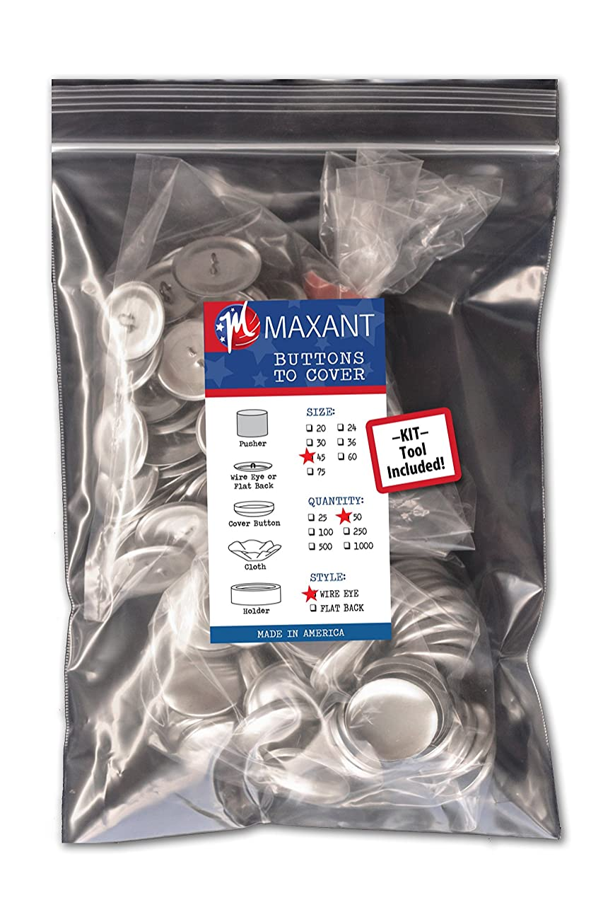 50 Buttons to Cover - Made in USA - Self Cover Buttons with wire eyes - size 45 with Tool