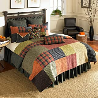 Full/Queen Quilt - Woodland Square by Donna Sharp - Lodge Quilt with Patchwork Pattern - Fits Queen Size and Full Size Beds - Machine Washable