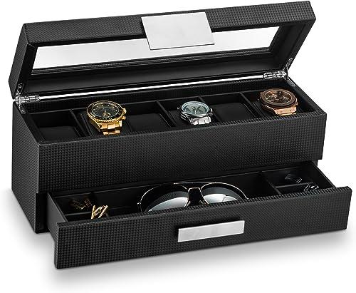 Glenor Co Watch Box with Valet Drawer for Men - 6 Slot Luxury Watch Case Display Organizer, Carbon Fiber Design -Meta...