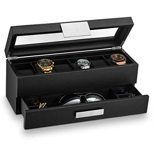 a01f8356009 Glenor Co Watch Box with Valet Drawer for Men - 6 Slot Luxury Watch Case  Display