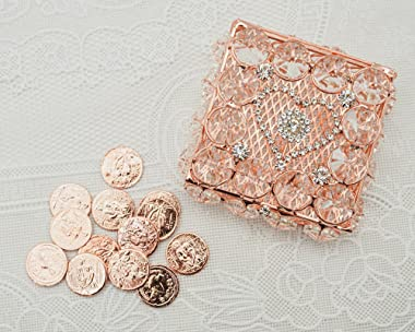 Lassos Boutique Decorative Rose Gold Wedding Arras Box Set, Heart Rhinestone Arras Para Boda with Unity Coins