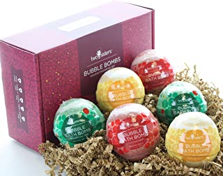 Christmas Bubble Bath Bombs Gift Set by Two Sisters Spa. 6 Large 99% Natural Fizzies For Women, Teens and Kids. Moisturizes Dry Sensitive Skin. Releases Lush Color, Scent, and Bubbles. Handmade in USA