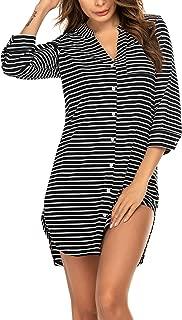 Women's Nightgown Striped Sleepwear 3/4 Sleeves Nightshirts Soft Button Sleep Dress