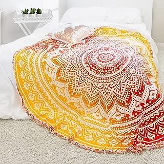 Labhanshi Indian Mandala Round Roundie Beach Throw Tapestry Hippy Boho Gypsy Cotton Tablecloth Beach Towel Round Yoga Mat