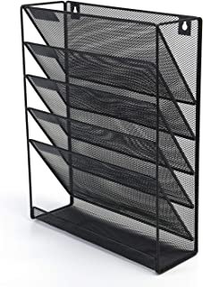 Liry Products Black Wall Mounted Magazine Rack 5 Tier Mesh Metal Folder Document Holder File Organizer Vertical Letter Hanging Document Newspaper Filing for Home Office