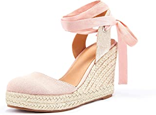 Coutgo Womens Espadrille Platform Wedge Sandals Ankle Straps Buckle Slingback Summer Closed Cap Toe Shoes
