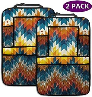 TianHeYue Navajo Southwest Native American Geometric Print 2 Pack Backseat Car Organizer Car Back Seat Protector Kick Mats for Kids Universal Fit