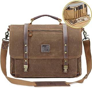 Men's Messenger Bag Vintage Genuine Leather Briefcase Shoulder Bag 15.6 Inch Waxed Canvas Leather Computer Laptop Bag Waterproof Business Satchel Bag Brown