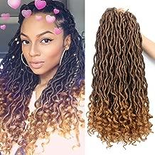 Eerya 6Packs/Lot Wavy Goddess Faux Locs Crochet Synthetic Braiding Hair 18 Inch Soft Curly Fauxlocs Havana Mambo Twist Hair Extensions Braids Dreadlocks 24Roots (18Inch Natural Black Brown T1B/27)