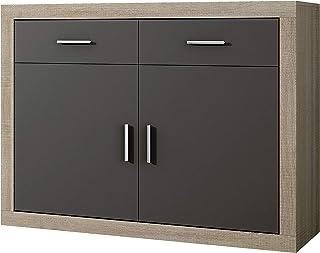 HomeSouth - Mueble Aparador 2 Puertas + 2 cajones Buffet para Cocina y Comedor Modelo Lara Acabado en Color Cambria y G...