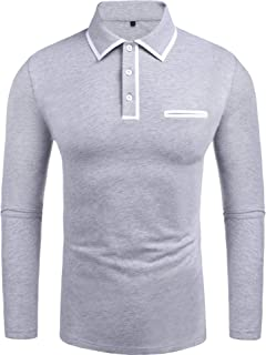 Men's Classic Casual Long Sleeve White Elastic Ribbed Collar Jersey Polo Shirt