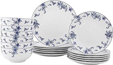 طقم أدوات طعام من 18 قطعة من فيجوارك من 6 قطع، سيراميك الصفصاف الأزرق، مجموعة أطباق مطبخ غير قابلة للكسر للعشاء والسلطة وا...