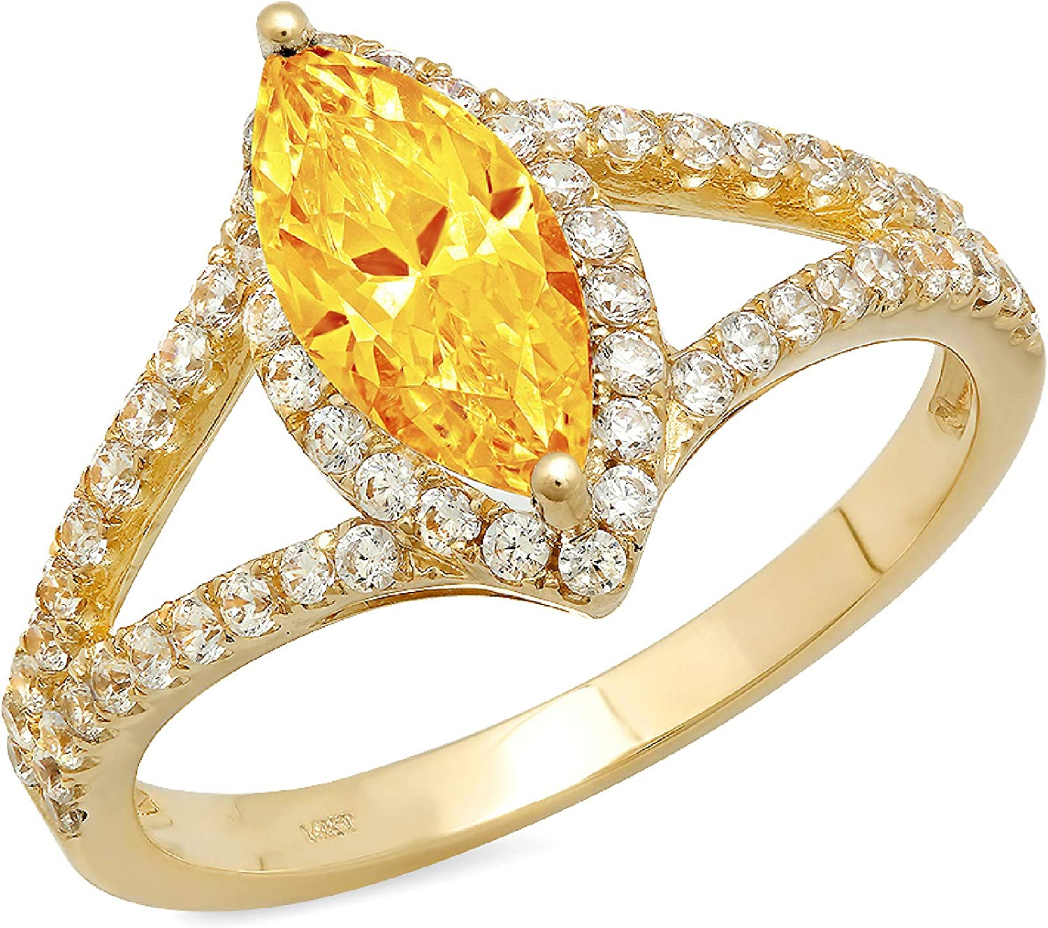 1.14ct Marquise Cut Solitaire split shank Halo Natural Yellow Citrine Gemstone Ideal VVS1 Engagement Promise Statement Anniversary Bridal Wedding ring Solid 14k Yellow Gold