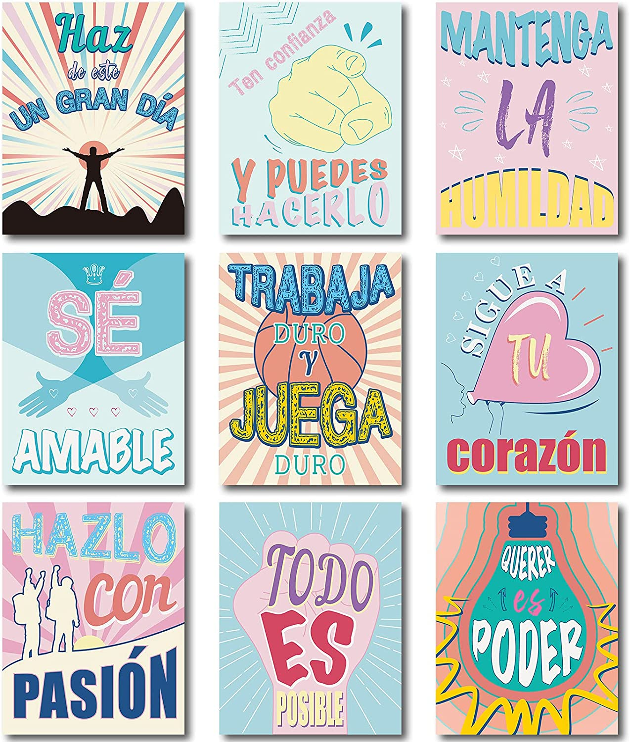 9 Pieces Spanish Classroom Decorations Spanish Motivational Posters for Middle and High School Classroom Decoration Inspirational Wall Art Inspirational Posters Motivational Quote Wall Decor