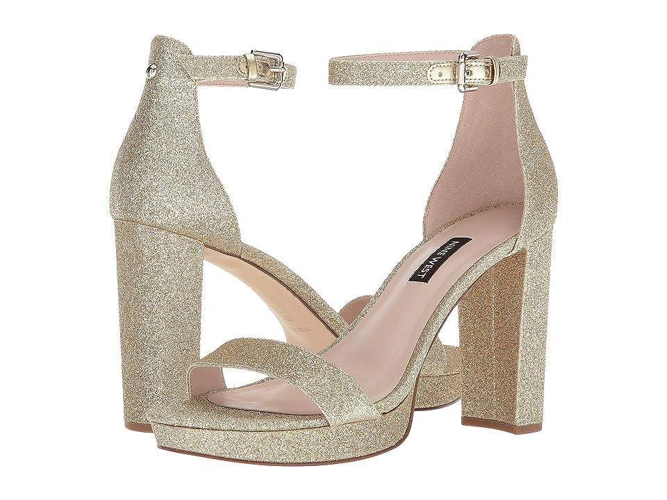 Nine West Dempsey Platform Heel Sandal (Light Gold Synthetic) Women