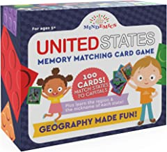 Mindemics US State Capitals Match It Game –United States and Capital Cities Flash Cards - Landmark Photos, State Slogans and Image - Educational Geography Memory Toy for Kids - 100 Pack