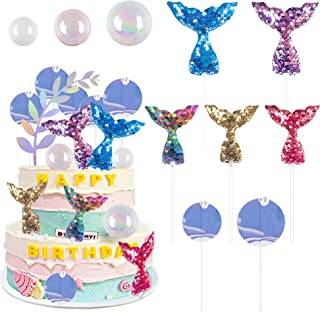 19 PCS Mermaid Cupcake Topper with Bubble Balls Mermaid Tail Sequin Laser Seaweed Decorfor Birthday Party, Baby Shower, W...