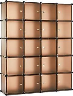 Meerveil Armoire Penderie Portable DIY, Étagère de Rangement, Cubes de Stockage Modulaire Stable, Assemblage Vêtements, Ch...