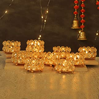 TIED RIBBONS Crystal Tealight Candle Holder for Home Décor - Tealight Candle Holder for Diwali Decoration (Pack of 10)