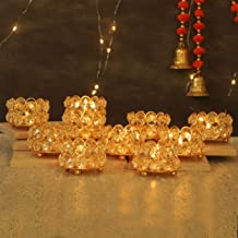 TIED RIBBONS Crystal Tealight Candle Holders for Home Décor - Tealight Candle Holder for Diwali Decoration (Pack of 10)