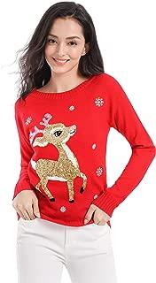 v28 Ugly Christmas Sweater, Women Girls Cute Shining Santa Penguin Xmas Sweater