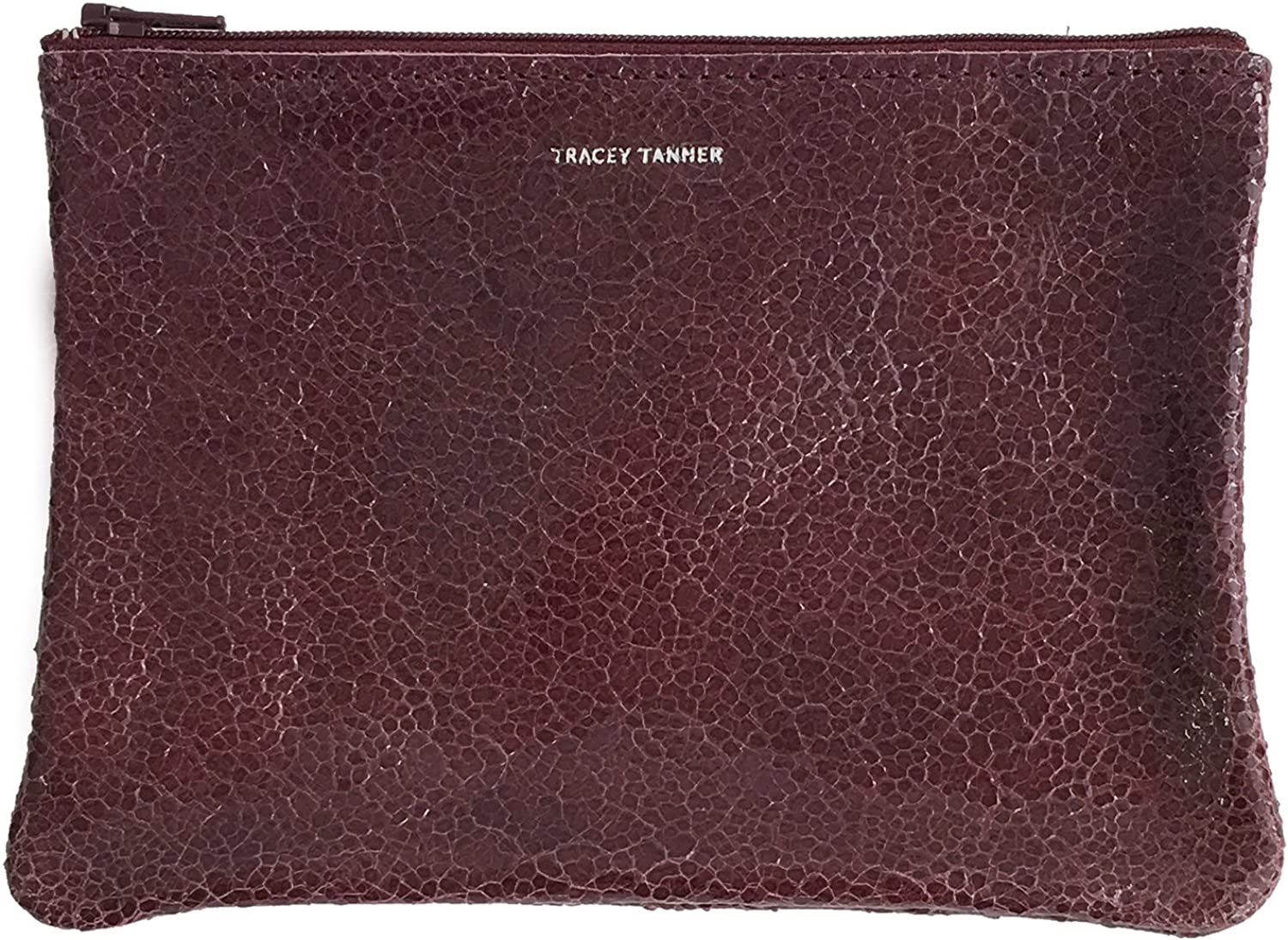 Tracey Tanner Zipper Top Pouch  Patent Wine Distress