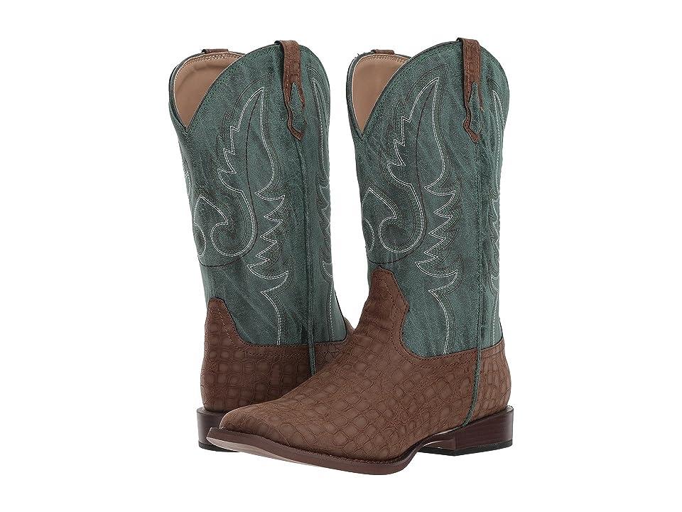 Roper Kids Gator (Big Kid) (Brown Faux Caiman Vamp/Green Shaft) Cowboy Boots
