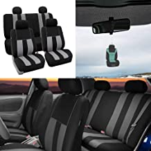 FH Group Striking Striped Seat Covers Airbag & Split Ready w. Free Air Freshener, Gray/Black Color- Fit Most Car, Truck, SUV, or Van