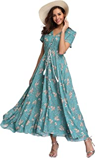 ba0f8447e5c VintageClothing Women s Floral Maxi Dresses Boho Button Up Split Beach  Party Dress