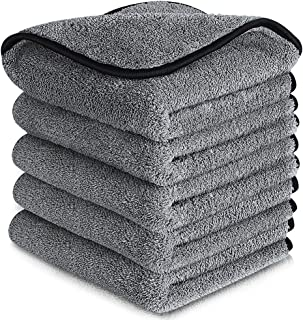 mixigoo Car Drying Towels 5 Pack - Super Absorbent Microfiber Cleaning Cloth Lint Free, 1200 GSM Ultra Thick Premium Micro...