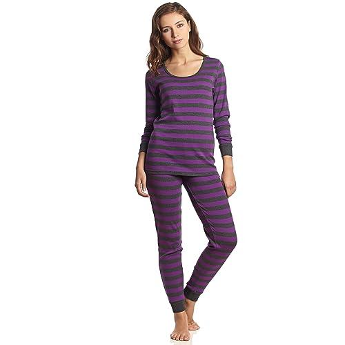 Leveret Women s Pajamas Fitted Striped 2 Piece Pjs Set 100% Cotton Sleep Pants  Sleepwear ( 76ef96df9