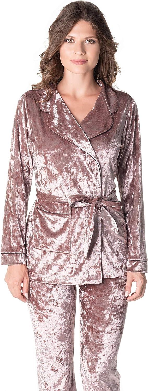 De La Ville Women's Vancouver 3146 Plush Lounge Suit Crushed Velvet Wear Pajamas Set 3in1 of Jacket, Cami and Long Pants