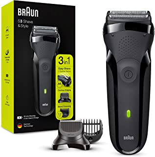 Braun Series 3Shave&Style300BT 3-i-1 Rakapparat, Rakapparat för män med precisionstrimmer för skägg och 5 kammar, Laddni...