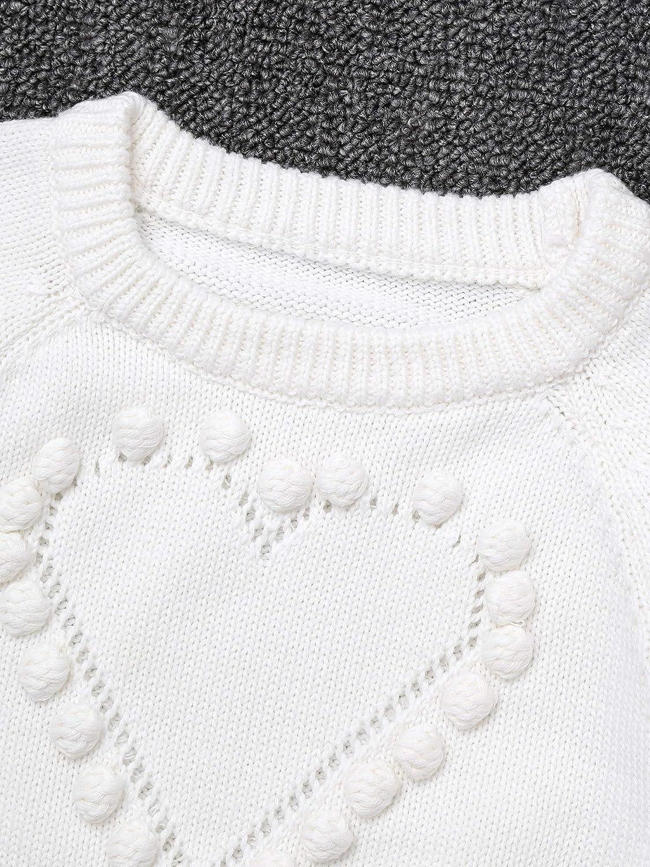 JEATHA Baby M/ädchen Strampler aus Baumwolle Langarmbody Herzmuster Bodysuit Strickbody warme Pullover Unterw/äsche Kinderkleidung