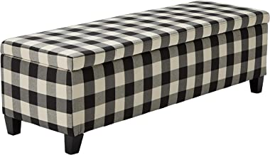 Christopher Knight Home 300703 Living Colby Fabric Storage Ottoman Bench (Black&White Checkers), Black Checkerboard