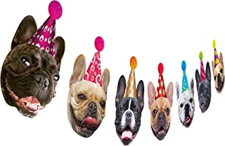 Dog Birthday Garland, Funny French Bulldog Face Portrait Birthday Banner, Bday Bunting Decoration
