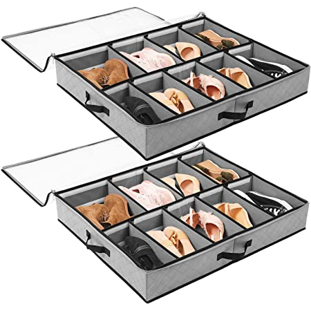 Caj/ón Cierre y 2 Compartimentos Negro Navaris 2X Organizador para Debajo de la Cama Cajas organizadoras para Guardar Ropa y Zapatos