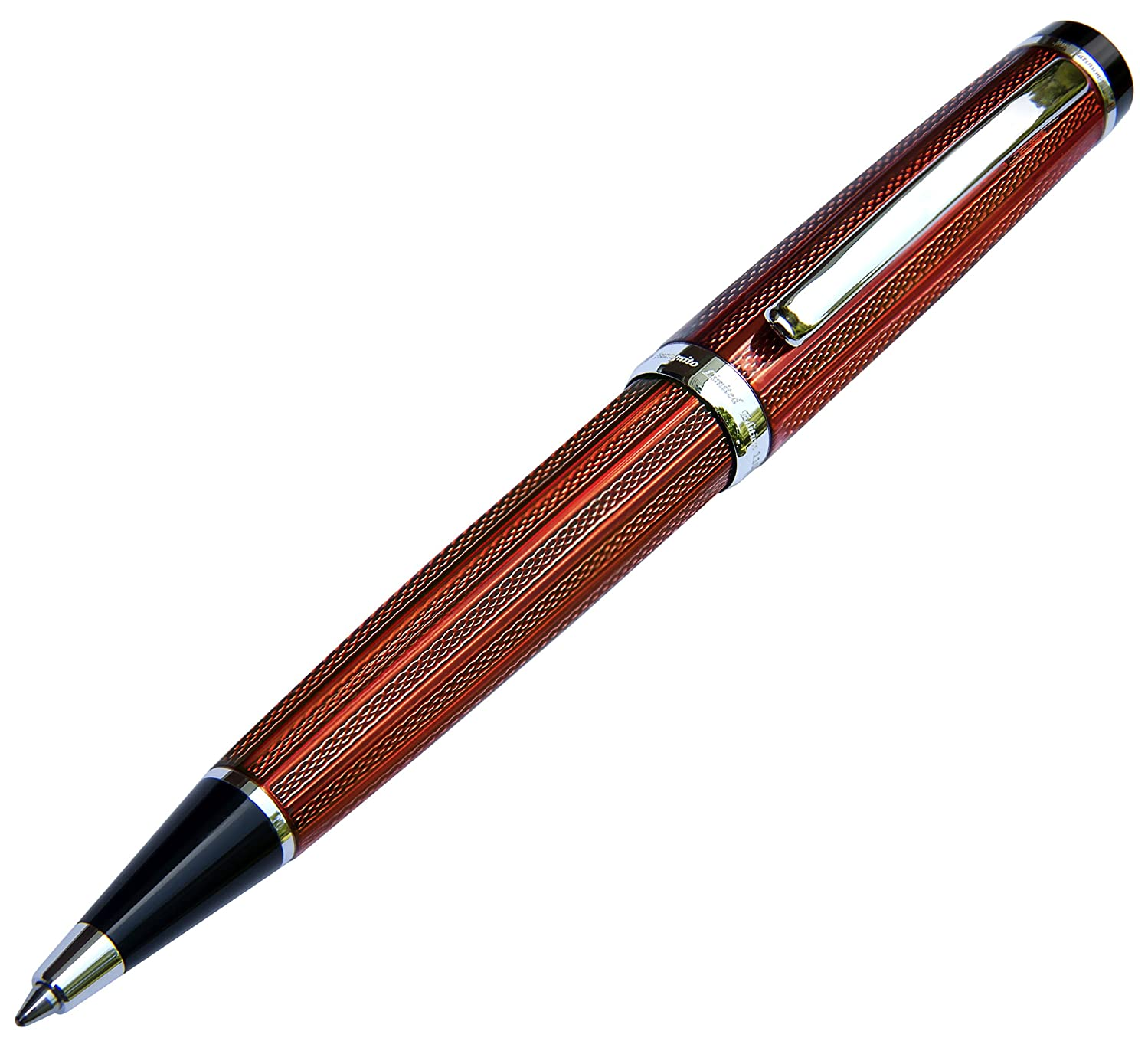 Xezo Incognito Brass Ballpoint Pen in Luxurious Copper-Red Color, Diamond-Cut, Serial, Platinum Plated Parts (Incognito Copper B)