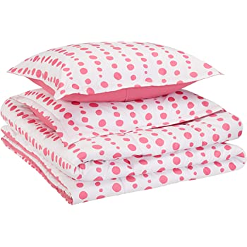 AmazonBasics Kid's Comforter Set - Soft, Easy-Wash Microfiber - Full/Queen, Pink Dotted Line