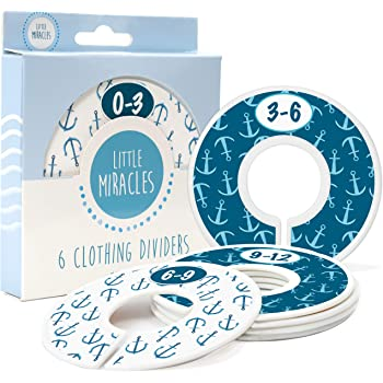 Little Miracles Baby Closet Size Dividers - Nautical Nursery Closet Dividers for Baby Clothes - Dividers by Month for Baby Boy Nursery Decor - Baby Closet Dividers for Clothing Racks - [Nautical]