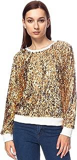 Women's Sequin Crewneck Sweatshirt Long Sleeve Sparkly Pullover Top