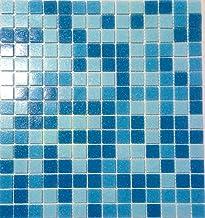 Poolmozaïek mozaïek tegel glas blauw mix papier gelijmd voor vloer muur badkamer toilet douche keuken tegelspiegel badkame...