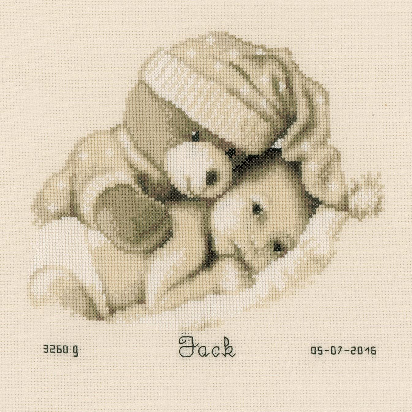 Vervaco 14 Count Baby & Teddy Birth Record On Aida Counted Cross Stitch Kit, 8.75