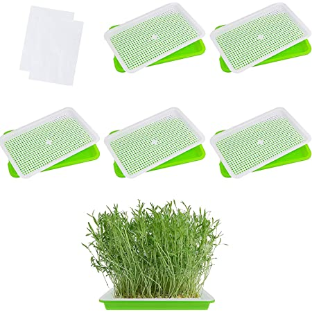 Ymeibe Seed Sprouter Tray BPA Free Seed Germination Nursery Tray with Drain Holes for Planting Seedlings Blue 5 Pack Great for Home Garden Office