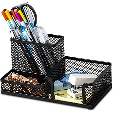 Desk Supplies Organiser, Mesh Desk Organizer Office Supplies with Pencil Holder and Storage Baskets for Desk Accessories, 3 Compartments, Black