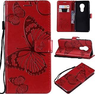 Smytu Motorola Moto G7 Power Wallet Phone Case, Premium Emboss Butterfly Flip Wallet Shell PU Leather Magnetic Cover Skin with Wrist Strap Case for Motorola Moto G7 Power(B-Red)