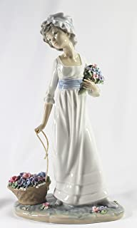 lladro figurines girl with flower basket