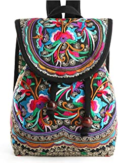Embroidery Canvas Backpack Purse for Women, Small Drawstring Casual Travel Shoulder Bag Daypack (Red Flowers)
