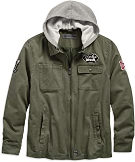 Men's Hooded Cotton Slim Fit Jacket, Green