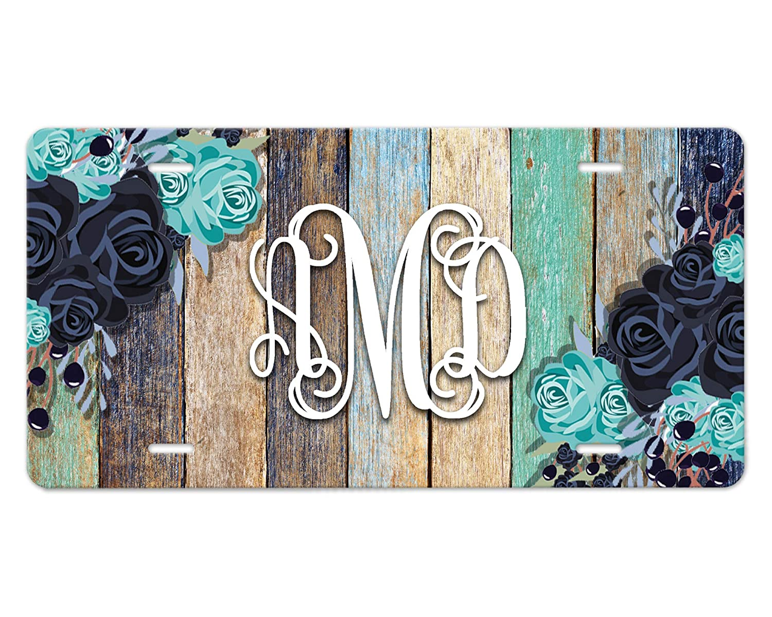 Custom New Shipping Free Shipping Monogram Front Jacksonville Mall Car Plate - Flowers Wood on Blue Design